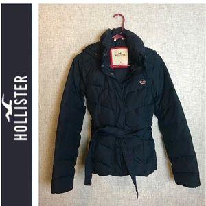 Navy blue Hollister down puffer jacket size med